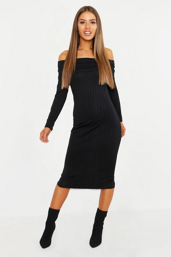 Womens Black Petite Ribbed Off The Shoulder Bodycon Dress
