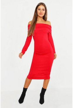 Womens Red Petite Ribbed Off The Shoulder Bodycon Dress