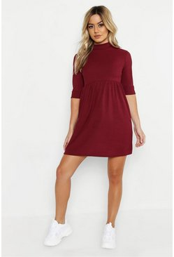 Womens Berry Petite High Neck Rib Smock Dress