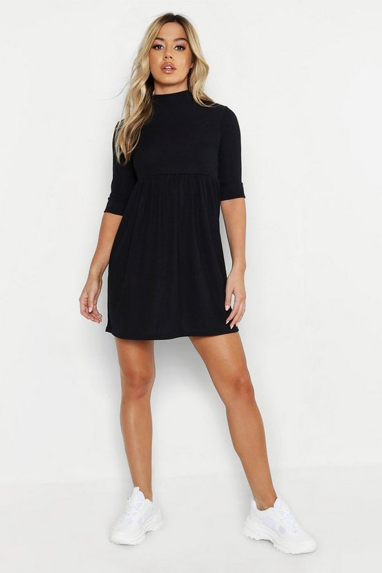 Womens Black Petite High Neck Rib Smock Dress