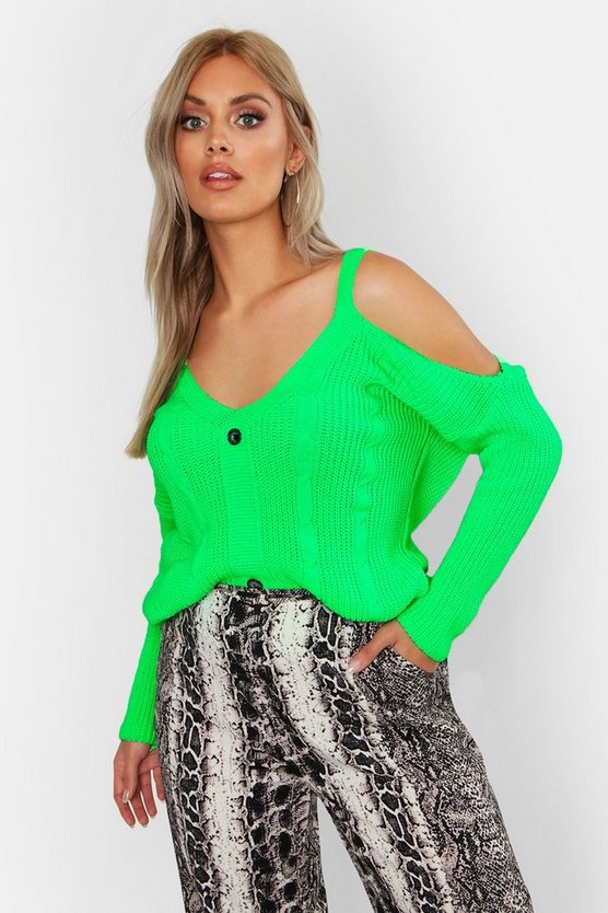 Womens Neon-lime Plus Cold Shoulder Cable Knit Cardigan