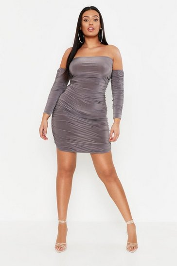 Womens Charcoal Plus Neon Ruched Bardot Slinky Bodycon Dress
