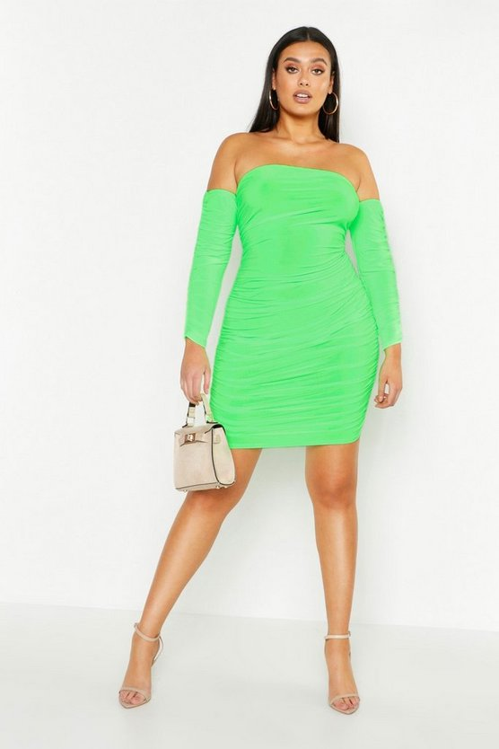 Plus Neon Ruched Bardot Slinky Bodycon Dress