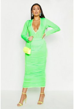 Womens Neon-lime Plus Neon Slinky Ruched Midi Skirt