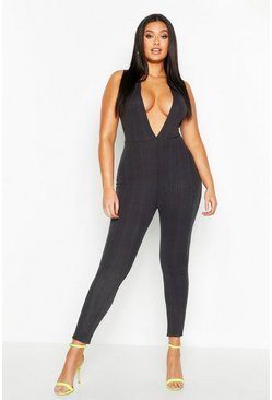 Womens Charcoal Plus Neon Super Plunge Bandage Jumpsuit