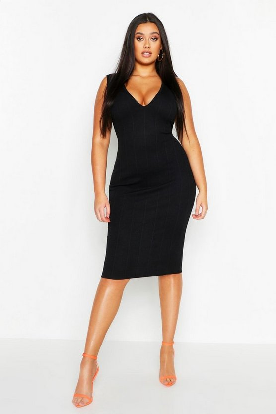 Black Plus Super Plunge Neon Bandage Dress