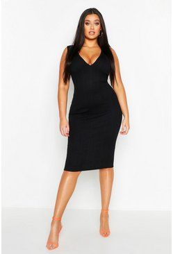 Womens Black Plus Super Plunge Neon Bandage Dress