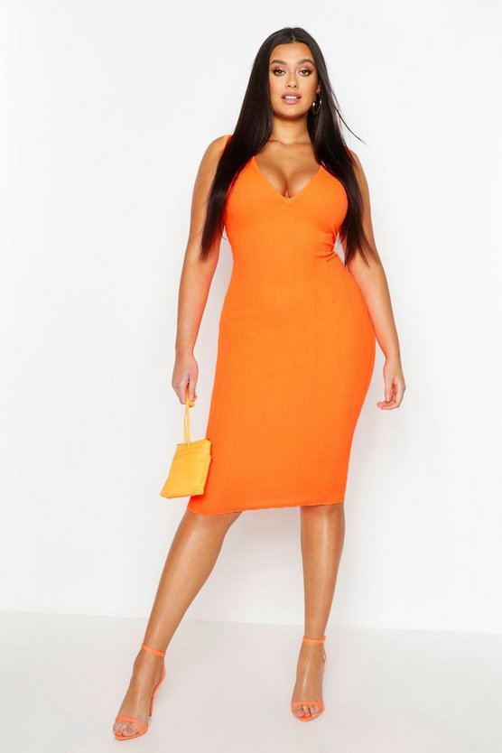 Womens Neon-orange Plus Super Plunge Neon Bandage Dress