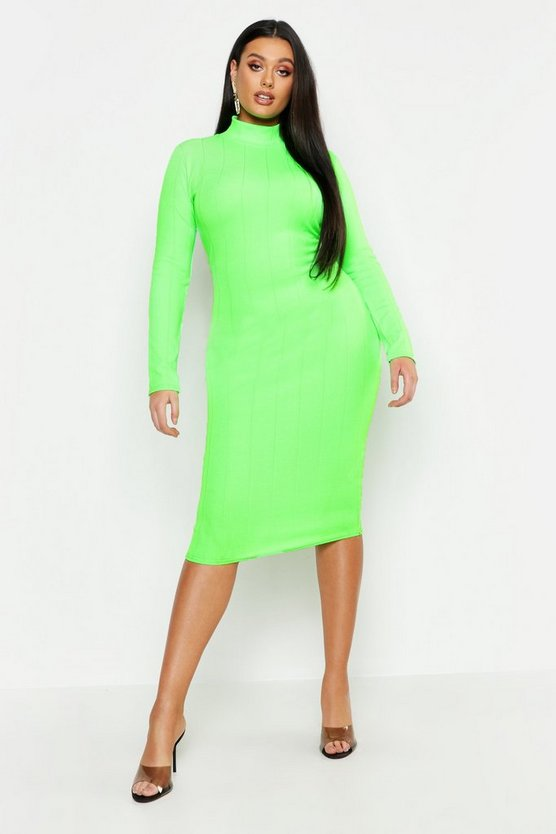 Womens Neon-lime Plus Neon High Neck Long Sleeve Bandage Midi Dress