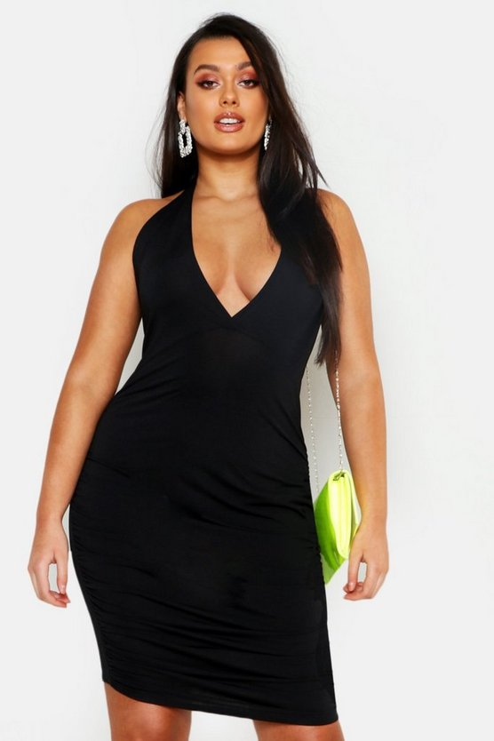 Womens Black Plus Neon Plunge Ruched Bodycon Dress