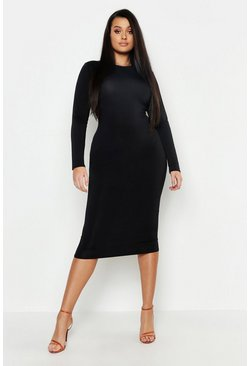 Womens Black Plus Neon Slinky Scoop Neck Midi Dress