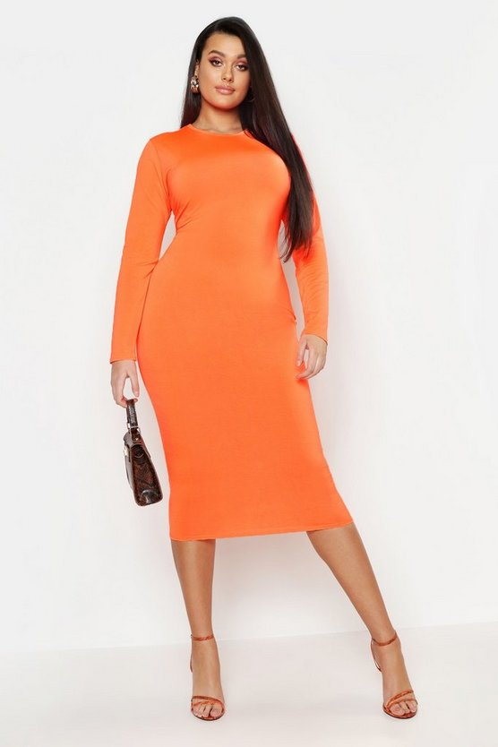 Womens Neon-orange Plus Neon Slinky Scoop Neck Midi Dress