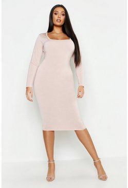 Womens Stone Plus Neon Slinky Sqaure Neck Sleeved Midi Dress