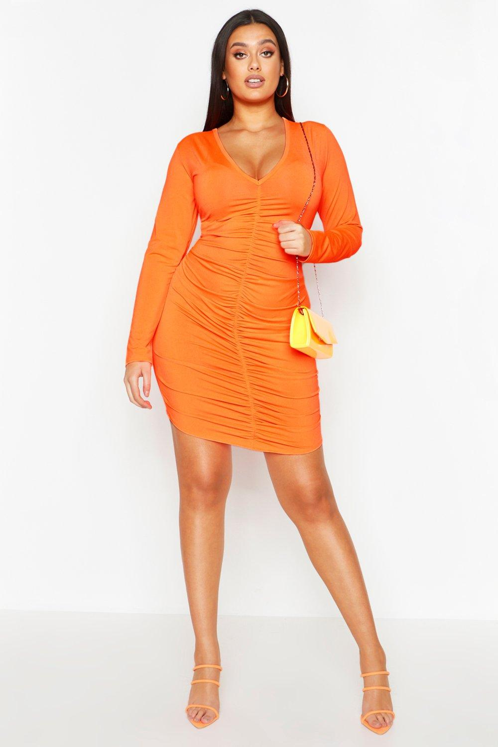 Plus Neon Ruched Plunge Bodycon Dress