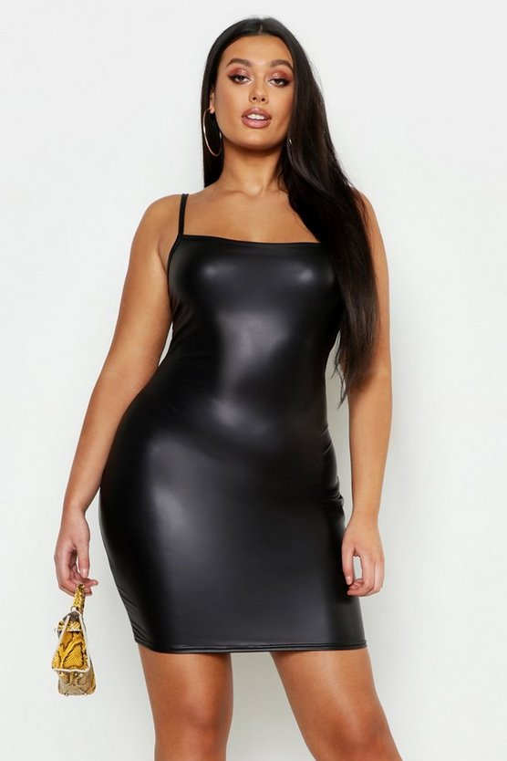 Womens Black Plus Square Neck Leather Look Mini Dress