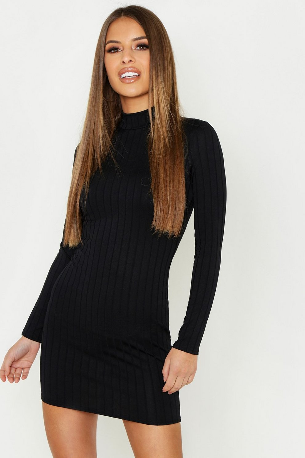 f7836eb02 Womens Black Petite Ribbed High Neck Bodycon Dress. Hover to zoom