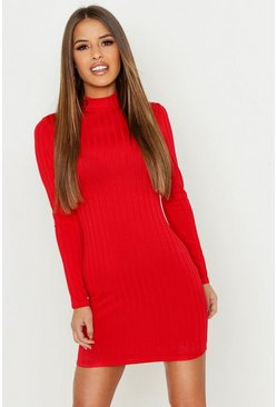 Womens Red Petite Ribbed High Neck Bodycon Dress