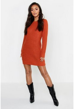 Womens Terracotta Petite Crew Neck Jumper Dress