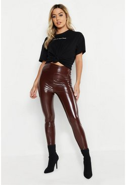 Womens Tan Petite PU Embossed Leggings