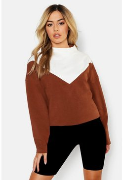 Womens Camel Petite Funnel Neck Colour Block Sweat Top