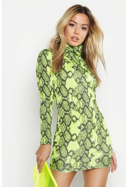 Womens Lime Petite Neon Snake Roll Neck Bodycon Dress