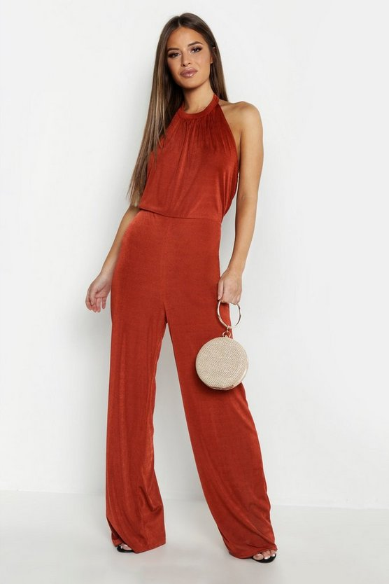 Womens Rust Petite Gathered Front Halterneck Jumpsuit