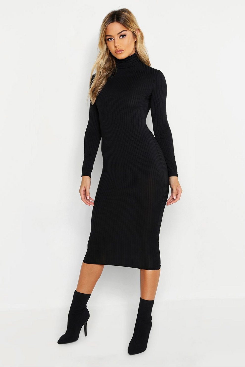 29eb888be36 Womens Black Petite Ribbed Neon Roll Neck Midi Dress