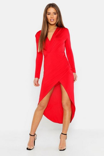 Womens Red Petite Slinky Double Wrap Midi Dress