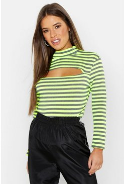 Womens Lime Petite Neon Stripe Cut Out Detail Top