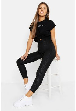 Black Petite Snake Embossed Legging