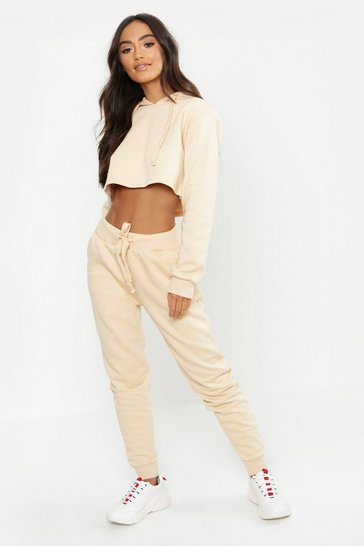 Womens Stone Petite Cropped Sweat & Jogger Set