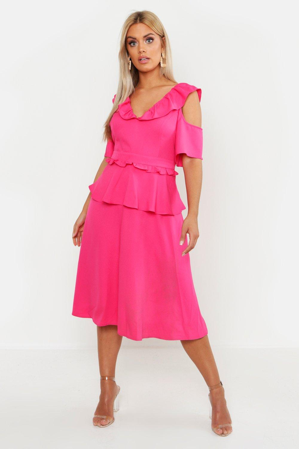 fdb00325ab68 Womens Fushia Plus Double Frill Cold Shoulder Midi Dress. Hover to zoom