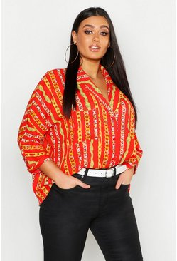 Womens Red Plus Chain Stripe Print Revere Collar Shirt