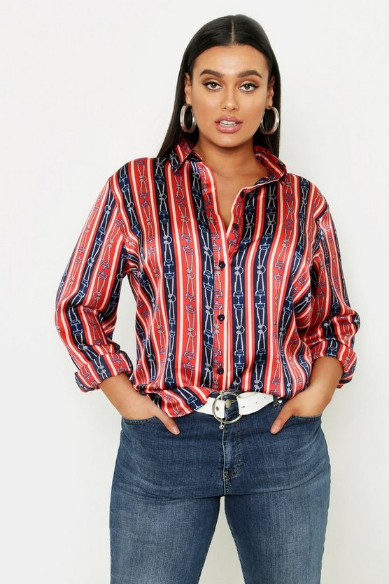 Womens Red Plus Stripe Chain Print Satin Shirt