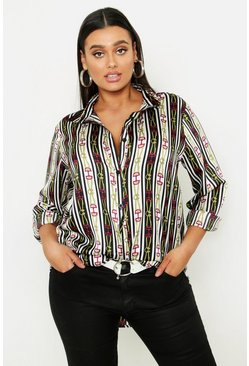 Womens White Plus Stripe Chain Print Satin Shirt