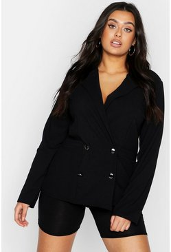 Womens Black Plus Double Breasted Pocket Detail Blazer