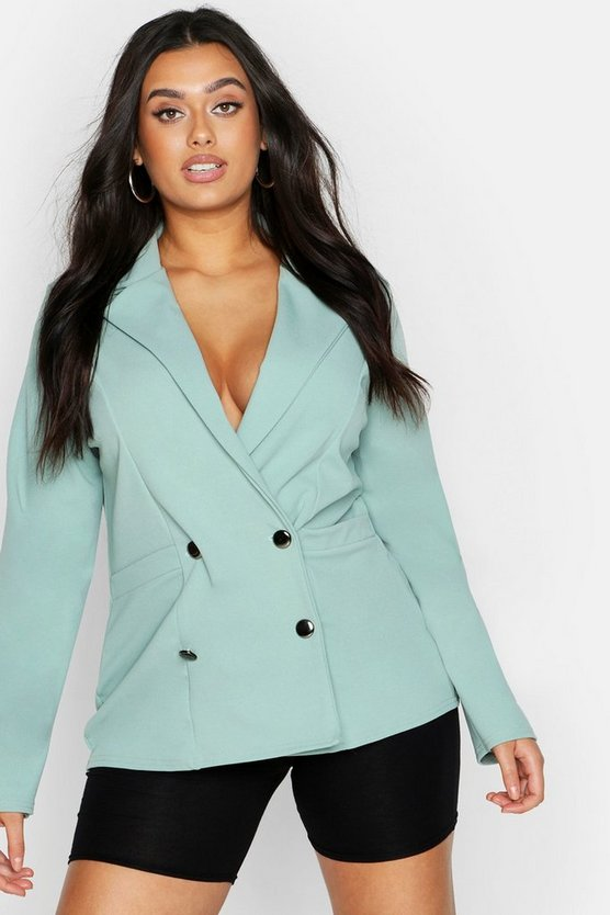 Womens Sage Plus Double Breasted Pocket Detail Blazer