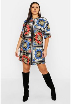 Womens Red Plus Chain Print T-Shirt Dress