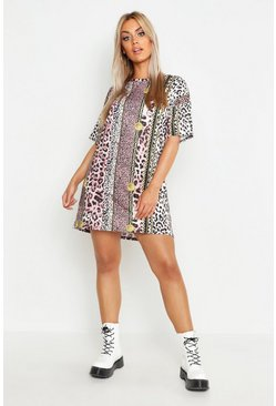 Womens Black Plus Chain Print T-Shirt Dress