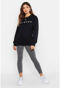 Womens Black Petite Friends Licensed Sweat Top