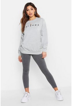 Womens Grey marl Petite Friends Licensed Sweat Top