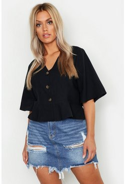 Womens Black Plus Linen Horn Button Frill Hem Blouse