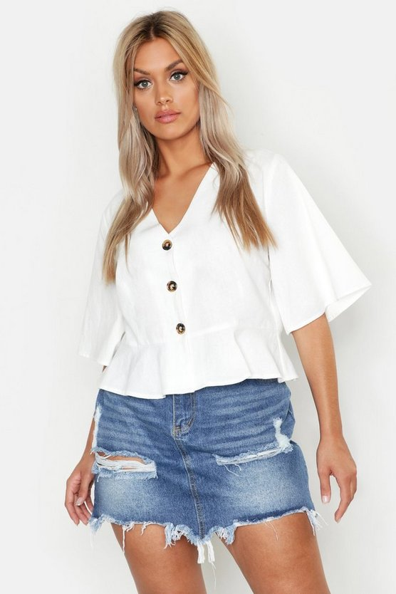 Plus Linen Horn Button Frill Hem Blouse