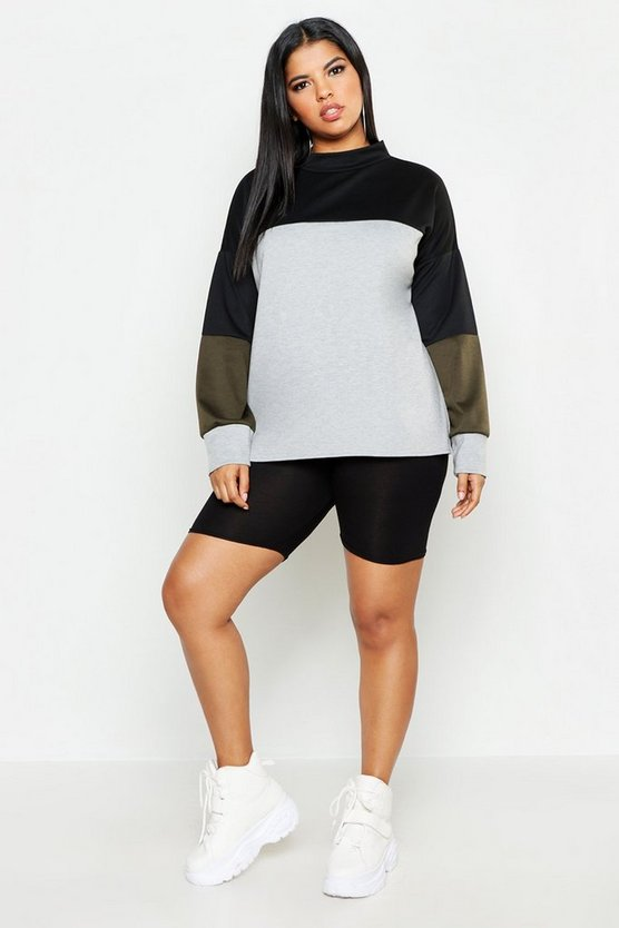 Dam Khaki Plus Colourblock Funnel Neck Sweat