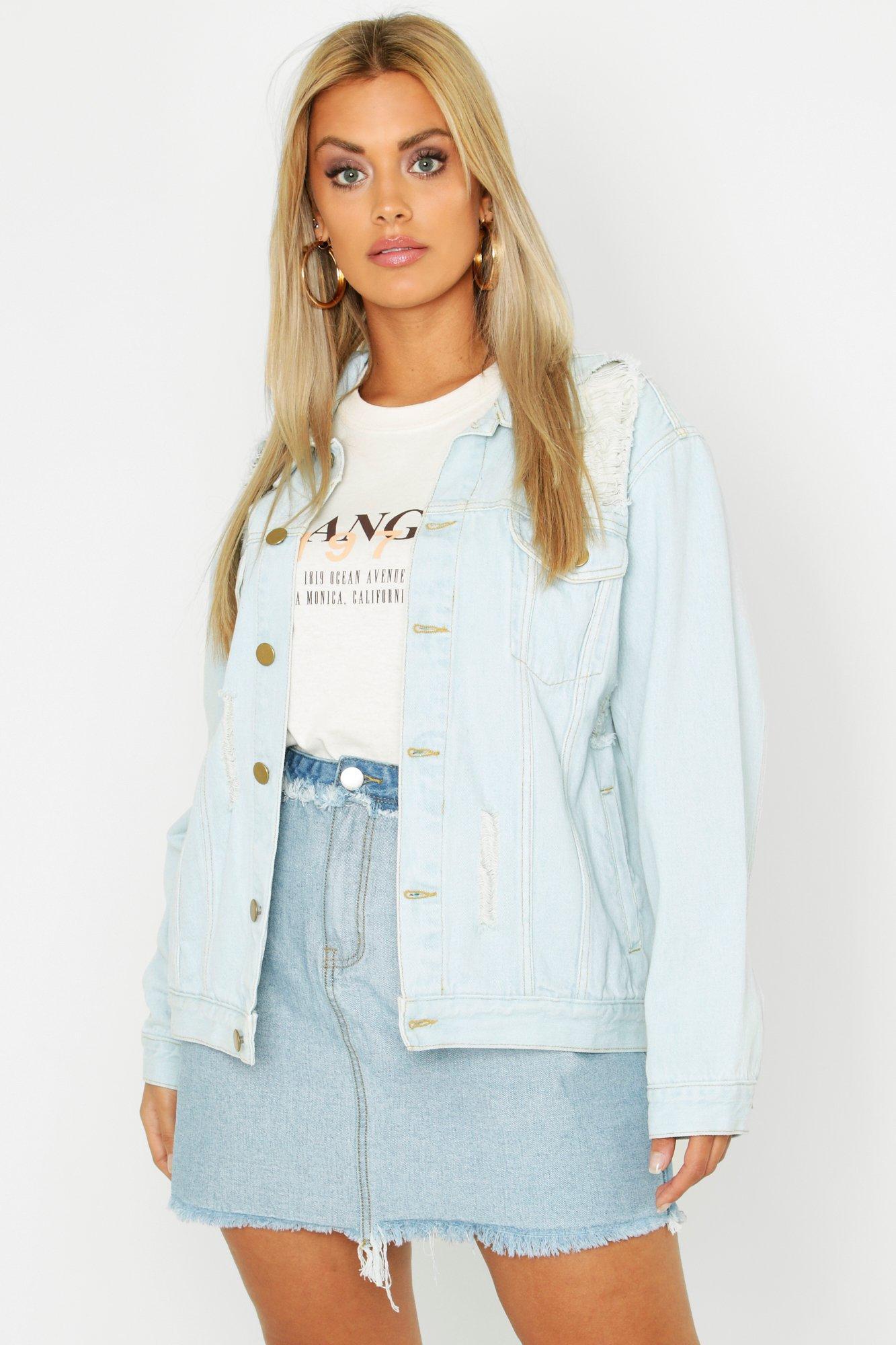 Plus Denim Distressed Oversized Jacket