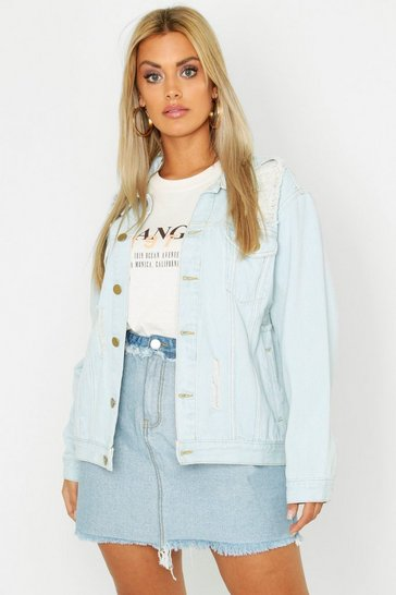 Womens Light wash Plus Denim Distressed Oversized Jacket