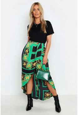 Womens Black Plus Floral Chain Print Wrap Midi Skirt