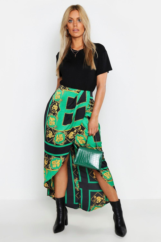 cc08f0155e9b Plus Floral Chain Print Wrap Midi Skirt. Hover to zoom