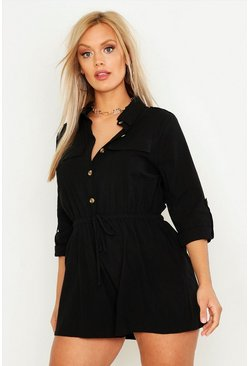 Womens Black Plus Pocket Detail Utility Playsuit