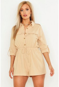 Womens Stone Plus Pocket Detail Utility Playsuit